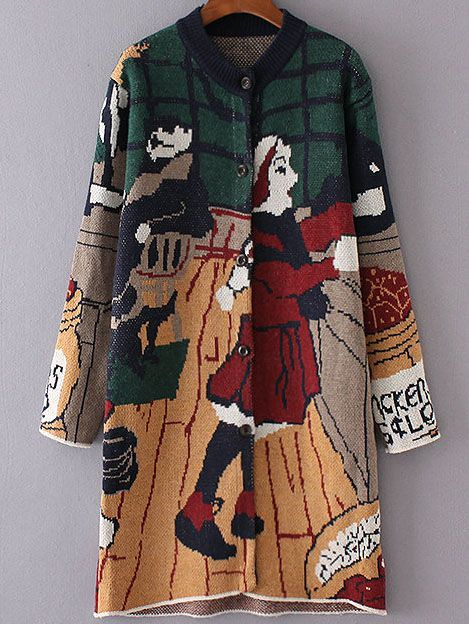 Shop Multicolor Graphic Pattern Button Up Sweater Coat online. SheIn offers Multicolor Graphic Pattern Button Up Sweater Coat & more to fit your fashionable needs.