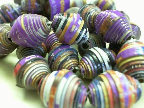 Upcycled Girl Scout cookie box paper beads (Samoas)