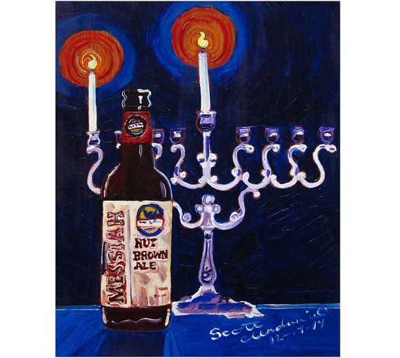 Hanukkah Beer Gift, Chanukah Gift, He'Brew Messiah Nut Brown Ale, Menorah Painting, Jewish Art, Shmaltz Brewing, New York Beer Art, Bar Art