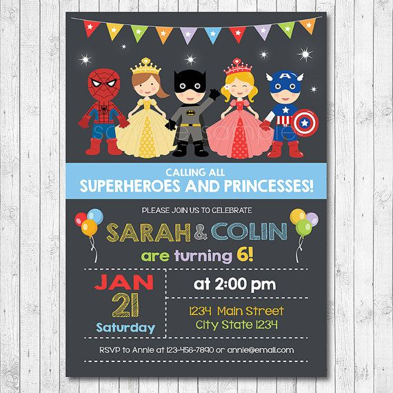 Superhero and Princess Invitation, Superheroes and Princesses invite, Twins Invite, Superhero Princess Party, Birthday, chalkboard