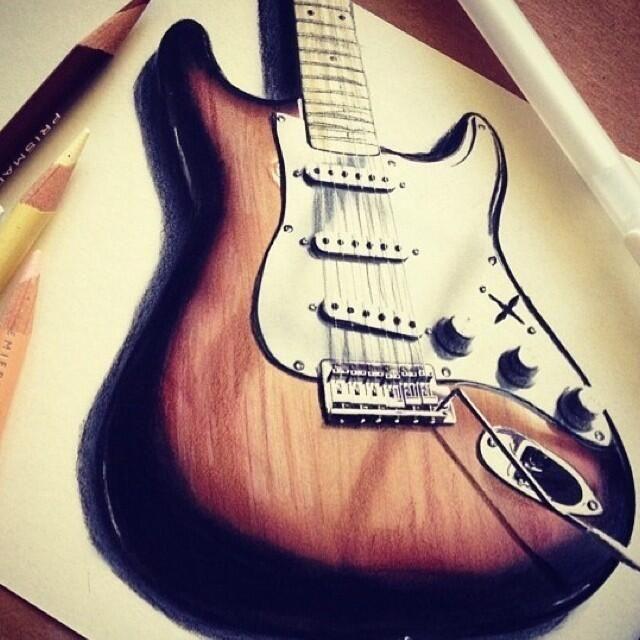 guitar drawing by emackelder