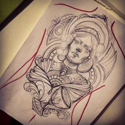 Mucha tattoo by Miss Juliet