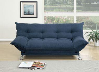 Adjustable Sofa w/ Flip up Arm Futon sofa bed Navy velvet