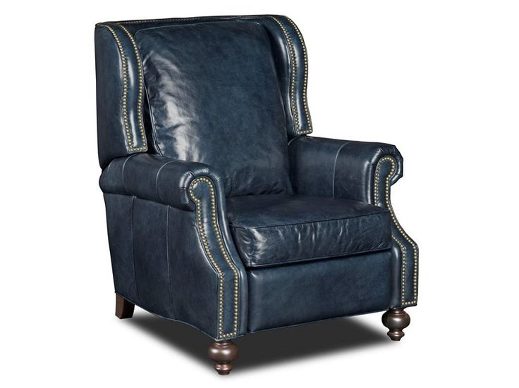 Serious eye candy push back navy blue leather recliner for Blue leather reclining sofa