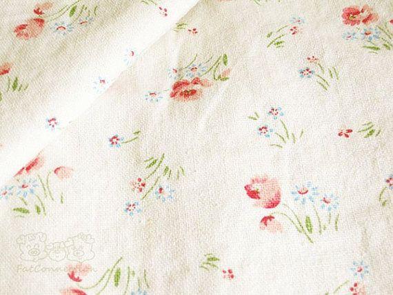 Yuwa fleur tissu de coton lin Slub Off White sur par fatconnection, $17.25