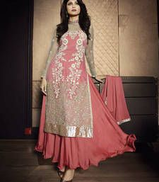 Buy Palevioletred net embroidered semi stitiched salwar with dupatta party-wear-salwar-kameez online