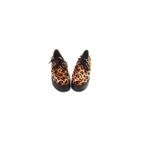2 Heel Leopard Lace Tie PU Lolita Shoes via Polyvore