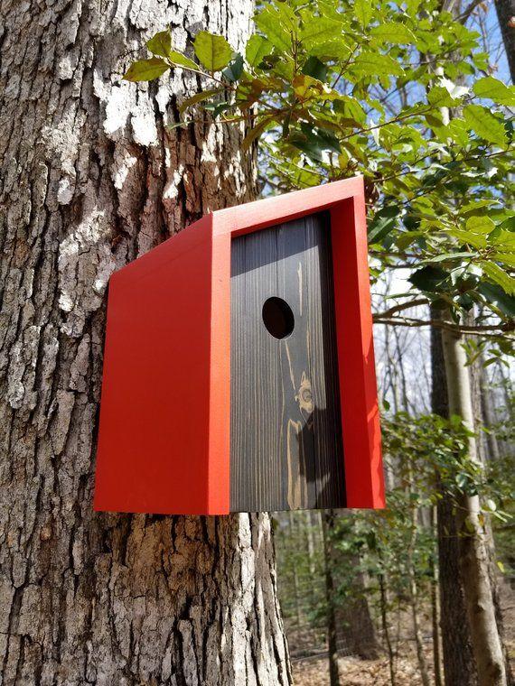 Moderne Holz-Voliere – minimalistisch – rot mit Ebenholz gebeizt Zeder Gesicht