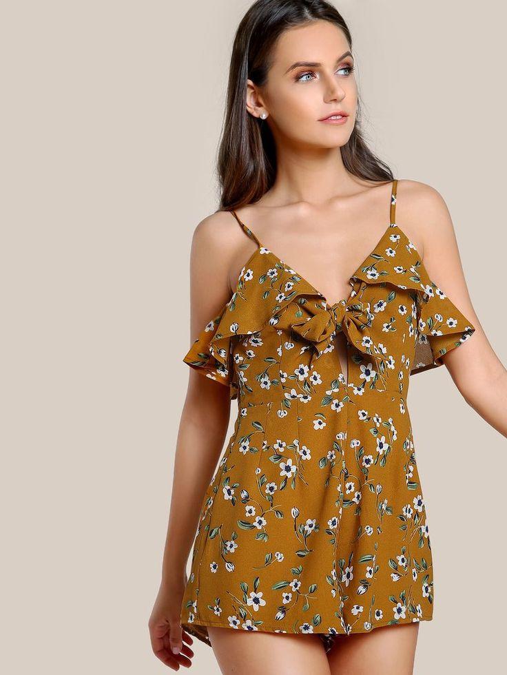 1530aafa4e86 Multicolor Floral Print Ruffle Trim With Tie Cami Straps V-Neck Sleeveless  Romper