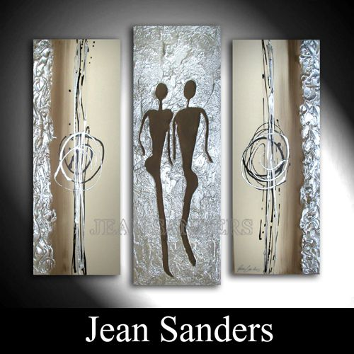 Acrylmalerei - JEAN SANDERS --3-teilig STRUKTUR Brauntöne/silber - ein Designerstück von JeanSanders bei DaWanda
