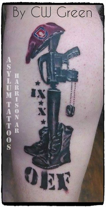 Asylum Tattoos Harrison, AR - Soldier's Cross #tattoosbyasylum #tattoos #soldier #cross #military #rifle #bayonet #dogtags #honor #respect