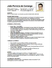 Modelo de currículo simples com foto para download