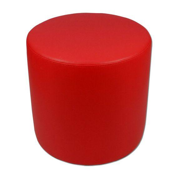 Pouf rotondo ecopelle rosso con anima in sagomato di Eglooh