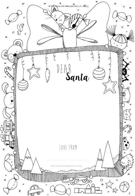 145* List do Świętego Mikołaja /szablon do druku/ Letter to Santa | dobrze narysowane...