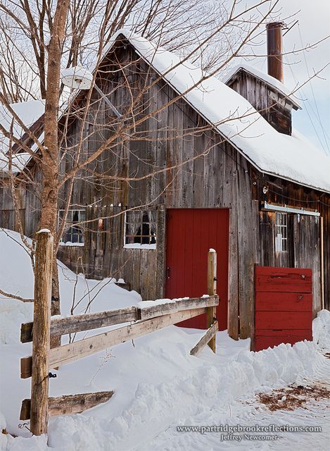 Old Barn Covered with Snow
