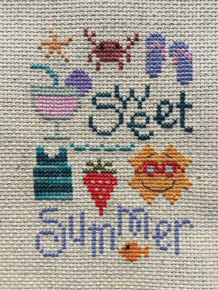 completed finished cross stitch Lizzie Kate Sweet Summer small small sampler | eBay