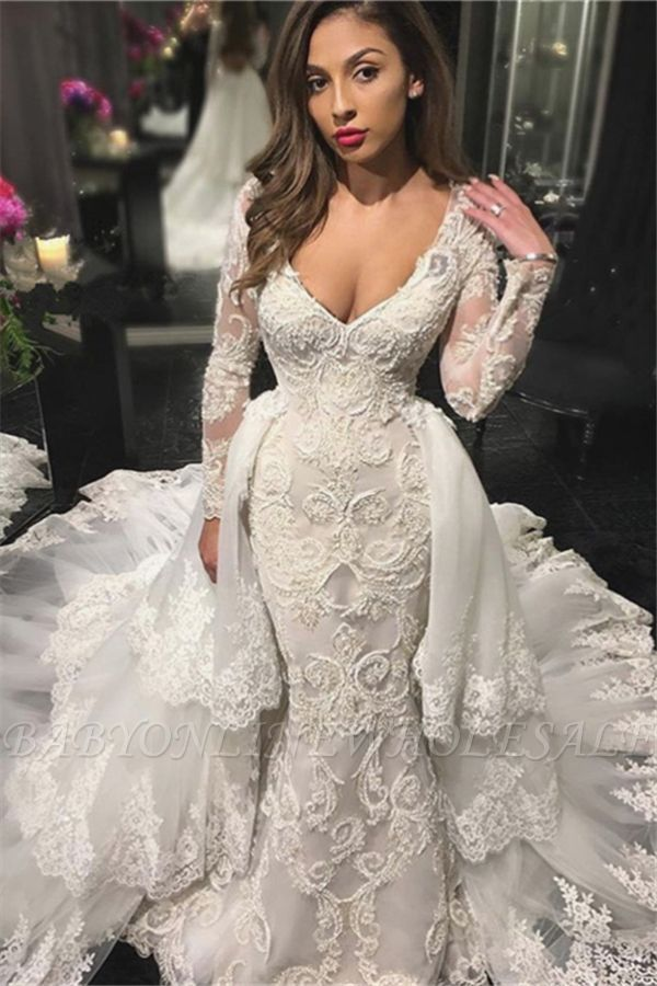 df4d8110196 V-neck Beads Appliques Wedding Dresses with Sleeves