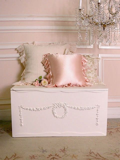 Shabby Pink. - oooohhh lala. We could repaint Trent's old toy box