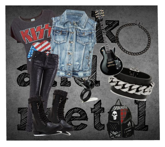 rock and metal by slytheriner on Polyvore featuring мода, ...Lost, Armani Jeans, Fendi and 8 Other Reasons