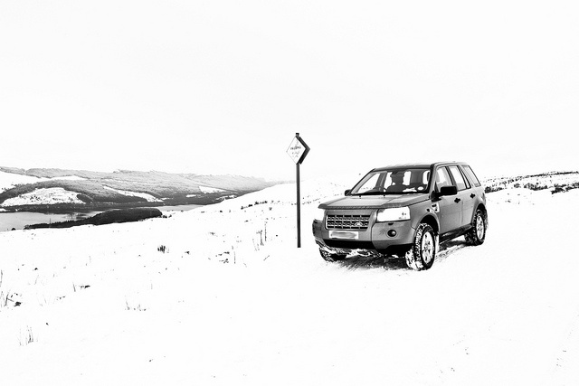 Land Rover (Freelander 2) In The Snow - Off Road, Perthshire, Scotland    The road to Lochan na Lairige near Kenmore - couldnt get any further up as the snow was too deep! We could see the top bits of the roof of this building, thought it was stones so turned around!!