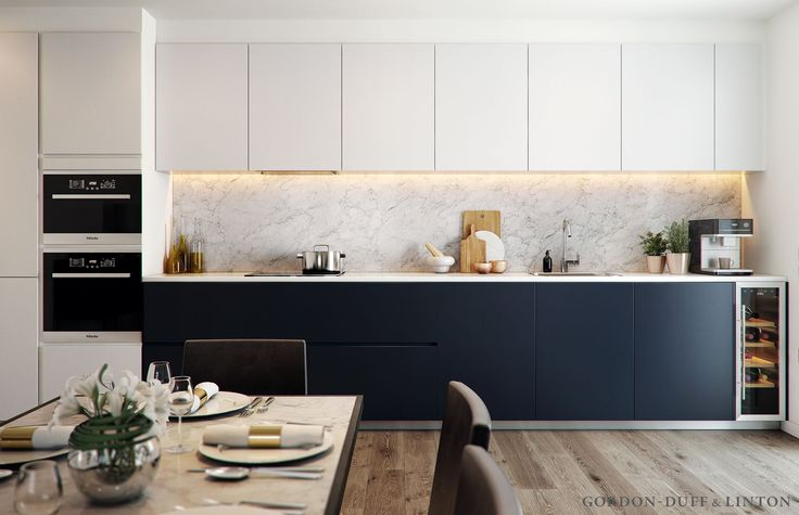 CGI of blue and off-white kitchen with Miele appliances and full-height carrara marble splashback.