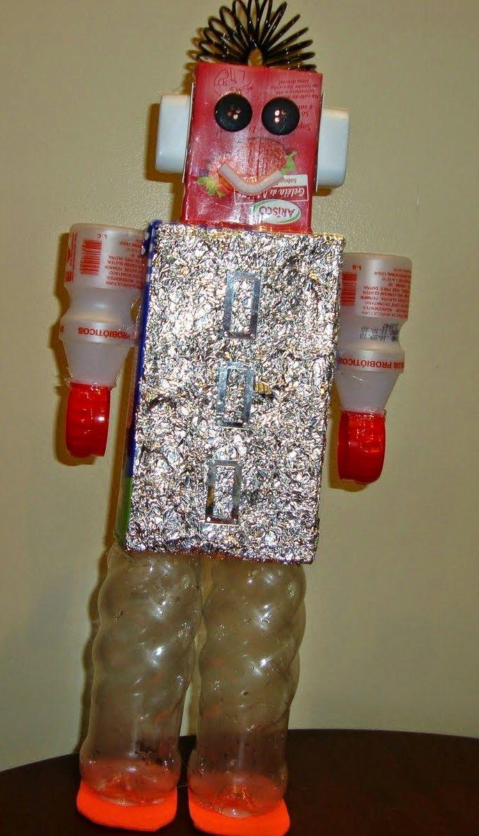 Robô feito com sucata ou material reciclado - brinquedo com sucata - ESPAÇO EDUCAR