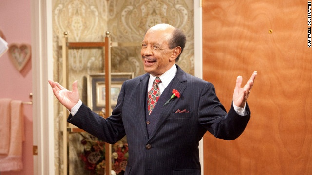 """Sherman Hemsley reacts during a scene in an episode of """"House of Payne"""" in April 2011. Hemsley, who played the brash George Jefferson on """"All in the Family"""" and """"The Jeffersons,"""" died Tuesday at 74, his booking agent said."""
