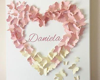 """Arte de pared mariposa personalizada - 20 """"x 20"""" Blush rosado y crema Ombre mariposa pared arte - vivero - vivero Decor - bebé regalo de la ducha"""