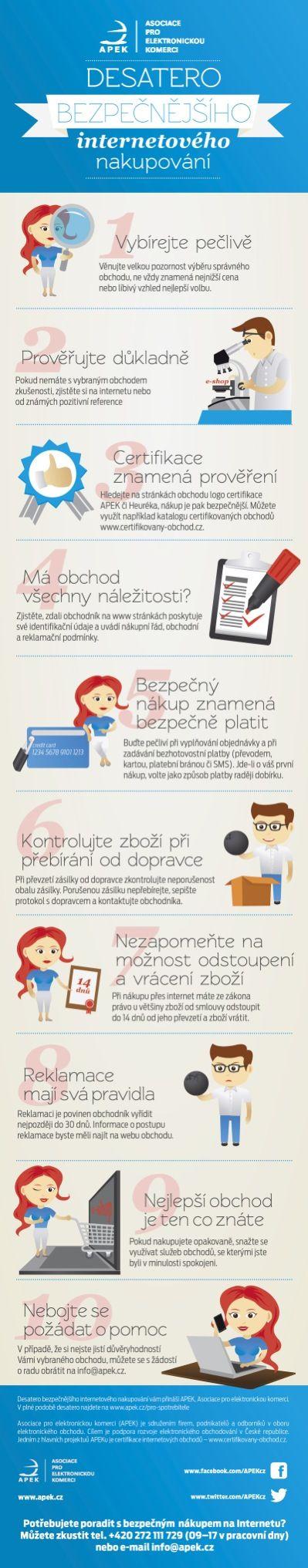 Infografika: Desatero bezpečnějšího internetového nakupování od APEK.cz.