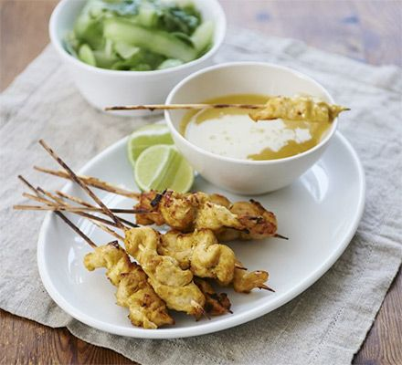 Food editor Barney begins his cooking with kids series- first off, Barney and his daugher Maisie make chicken skewers with peanut sauce