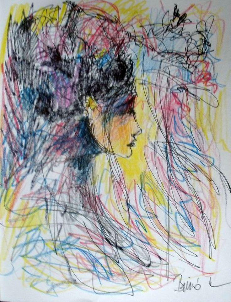 Konrad Biro Art - Beauty pen drawing colored pencil Fabriano artist's paper