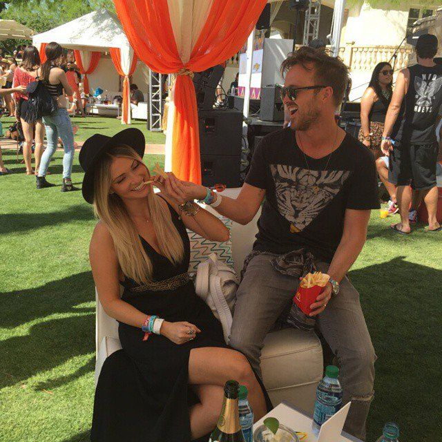 """Pin for Later: You Won't Be Able to Get Enough of Aaron Paul's Romance With Lauren Parsekian  """"This sweet chariot is the best coachella date anyone could have,"""" Aaron captioned this photo of the pair at the musical festival."""