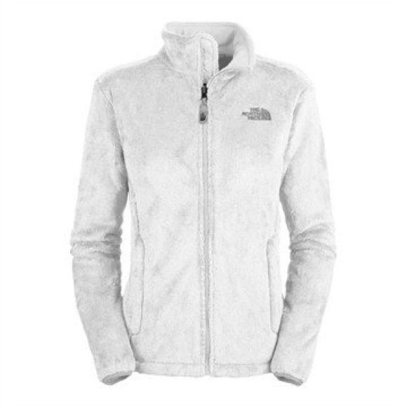 White North Face Jacket White fuzzy north face jacket. Two pockets. Very comfortable. Not perfectly white. North Face Jackets & Coats