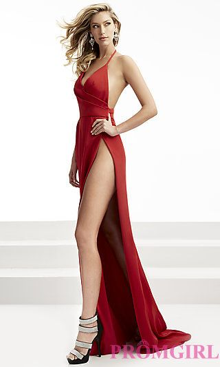 Long Open Back High Side-Slit Prom Dress at PromGirl.com