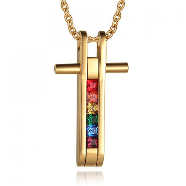 Graceful Coloured Faux Crystal Cross Pendant Necklace For Men #CLICK! #clothing, #shoes, #jewelry, #women, #men, #hats, #watches