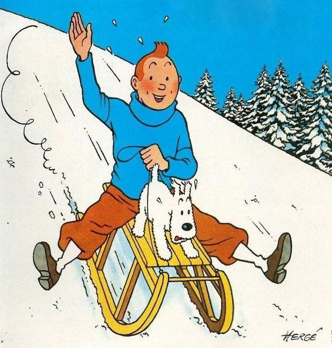 Tintin holding Snowy's tail in snow ride
