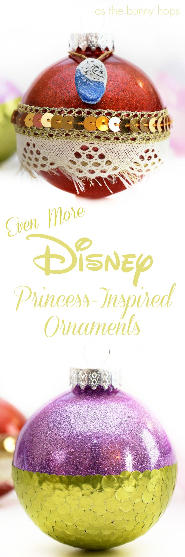 Craft up some Disney-inspired fun with some sparkly princess ornaments! These DIY Christmas ornaments include Moana, Ariel and Sleeping Beauty!