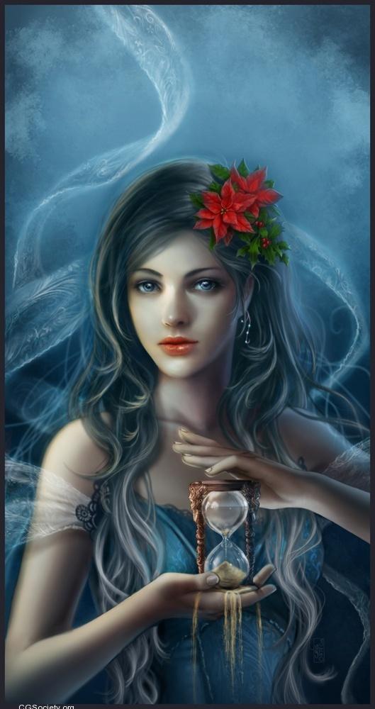 Love the poinsettias in her hairDigitalart, Cris Ortega, Fairies, Time Travel, Animal Art, Concept Art, Fantasy Art, Digital Art, Blue Art