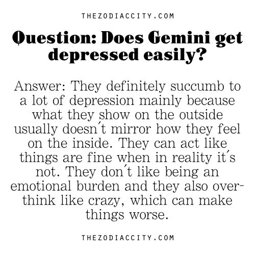 Zodiac City - Zodiac Question: Does Gemini get depressed easily?