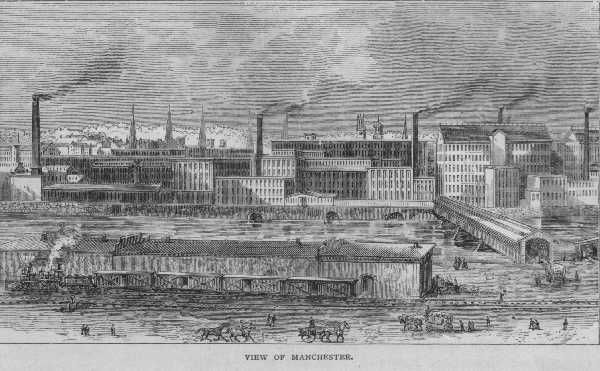 View of Manchester ( an Industrialized city) -   On your t-chart in the Industrial Society column, describe the factors of production that made industrialization/urbanization possible.