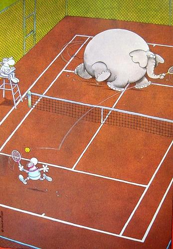 #mordillo #tennis #draw : man vs #elephant Posted on tennissorms.it