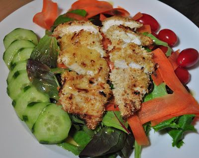 Coconut Crusted Chicken Salad with Warm Honey Mustard Dressing. Minus ...