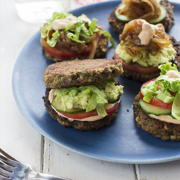 Lentil and Cashew cakes With Avocado Smash, Caramelised Onions and Kumara Chips