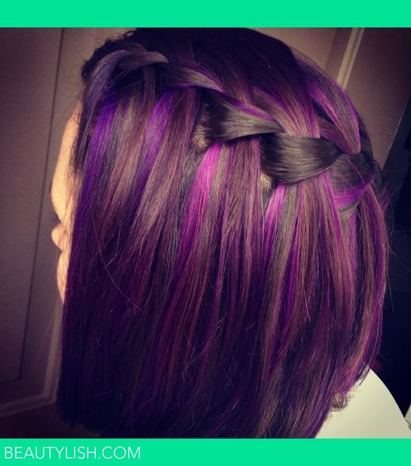 Best 25 purple highlights ideas on pinterest brown hair purple waterfall braids with purple highlights love dark hair with purple highlights pmusecretfo Image collections