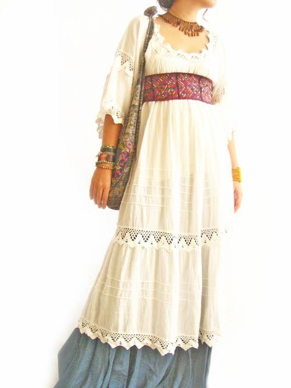 Romantic Mexico white maxi dress vintage crochet from Aida Coronado wedding collection
