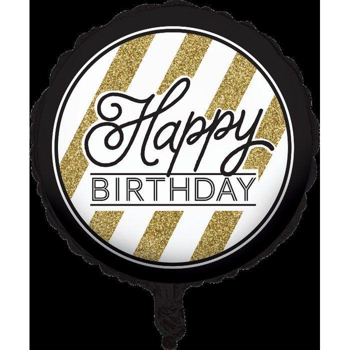 Black And Gold Happy Birthday Mylar Balloon