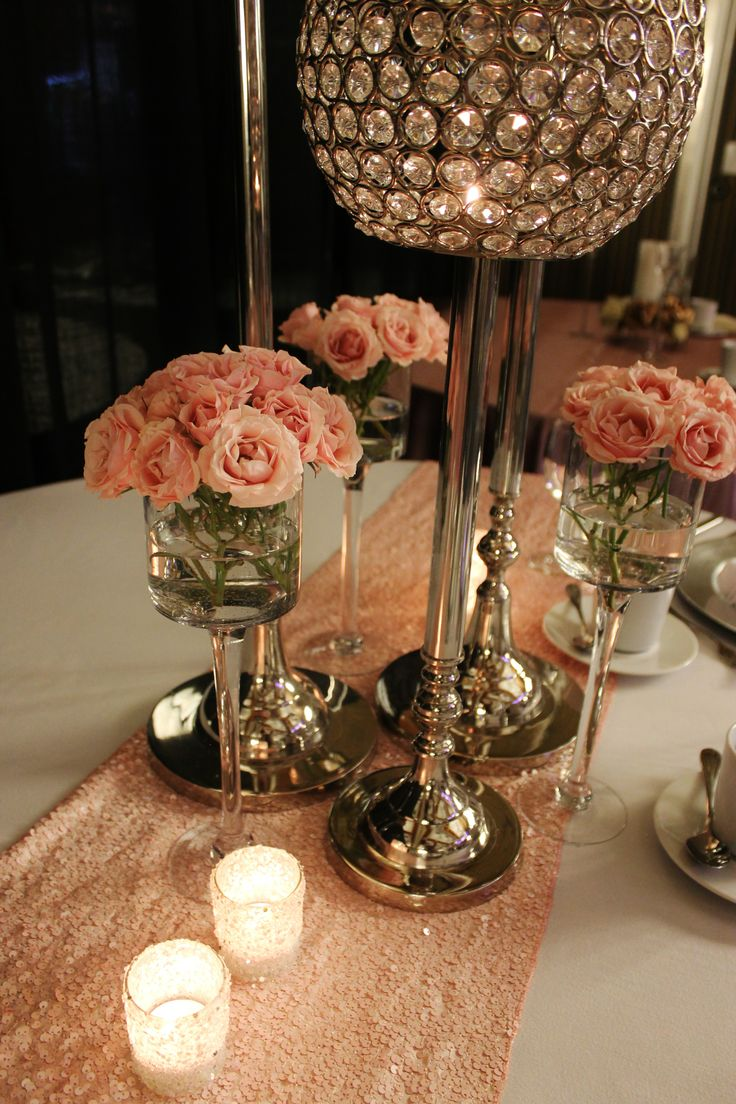 Blush pink centerpiece, pink roses, sequin runner, crystal ball