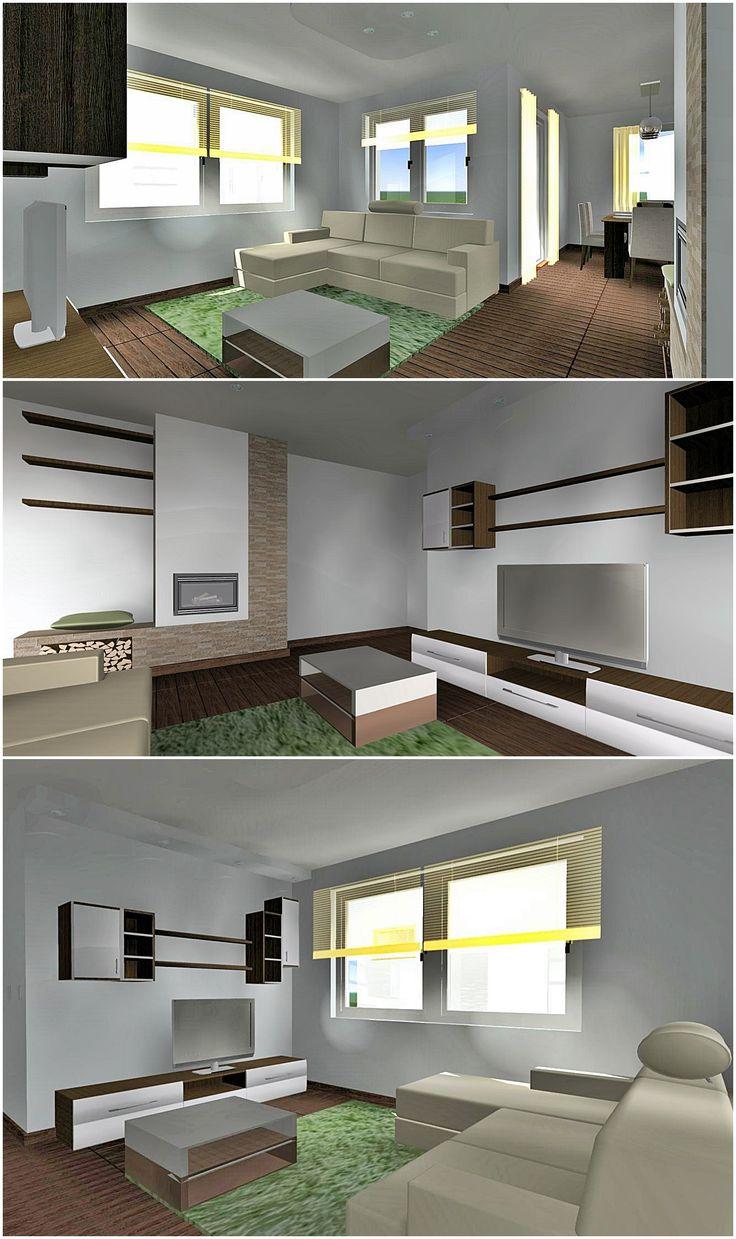 Fiatal pár modern nappalija #lakberendezés #interiordesign #nappali #livingroom #kandalló #fireplace