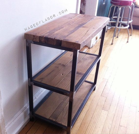 Reclaimed Wood And Steel TV Stand// Microwave Stand By WageofLabor