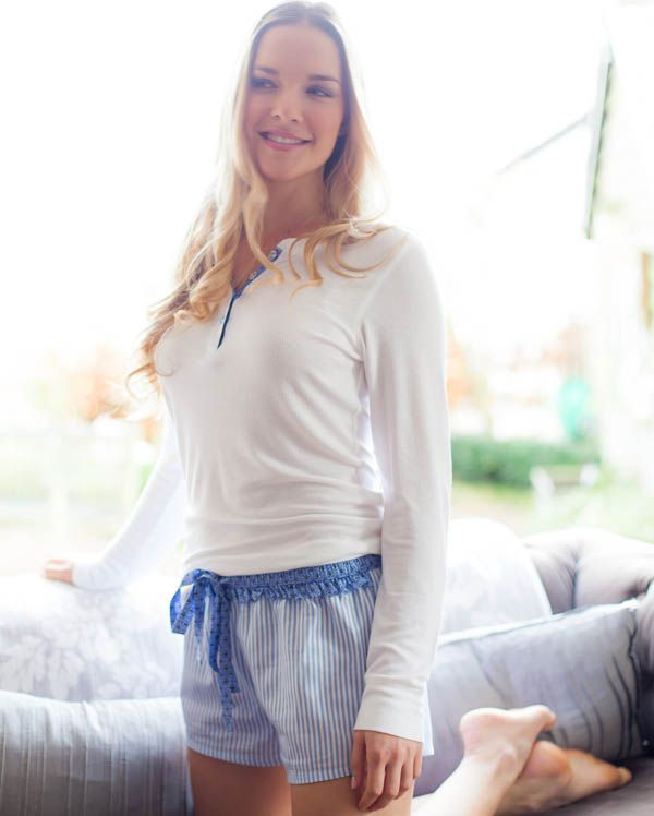 Melissa Long Sleeve Knitted Viscose Top and Stripe Shorty Set